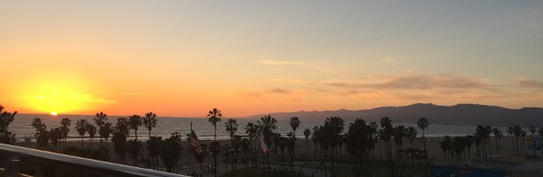 Sun setting in Venice Beach