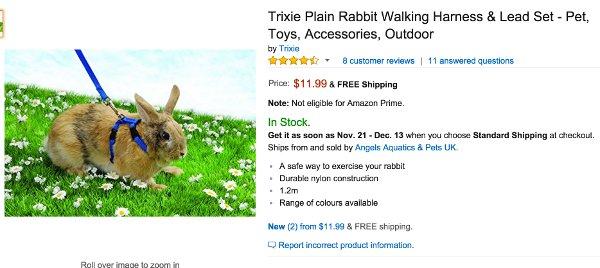 Rabbit Harness Listing from Amazon