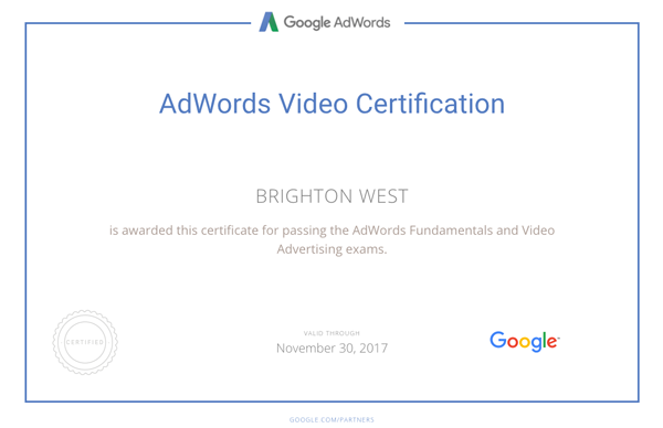 Adwords Certificate for Brighton West