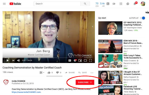 Location of subscribe button